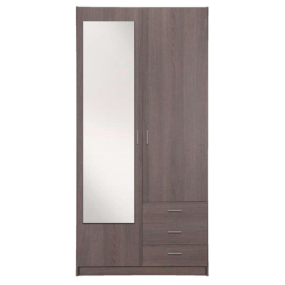 Kleerkast Sprint 2-deurs inclusief spiegel - grijs eiken - 200x100x51 cm