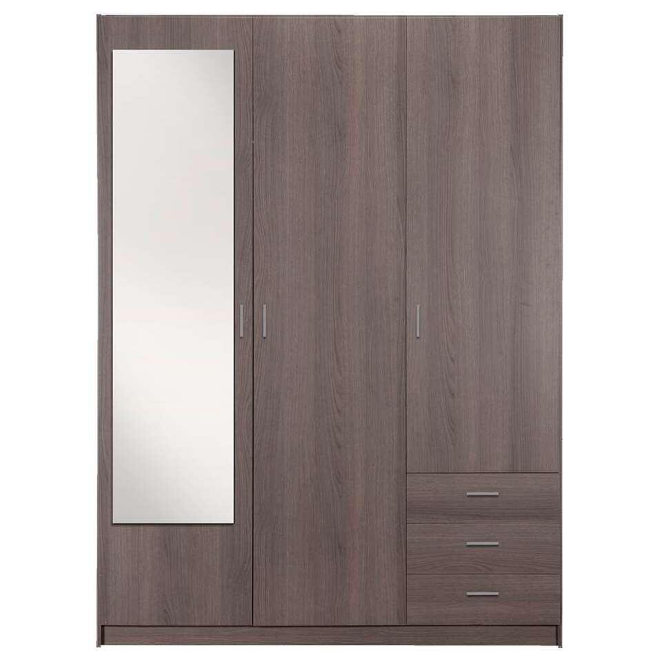 Kledingkast Sprint 3-deurs inclusief spiegel - grijs eiken - 200x148x51 cm - Leen Bakker