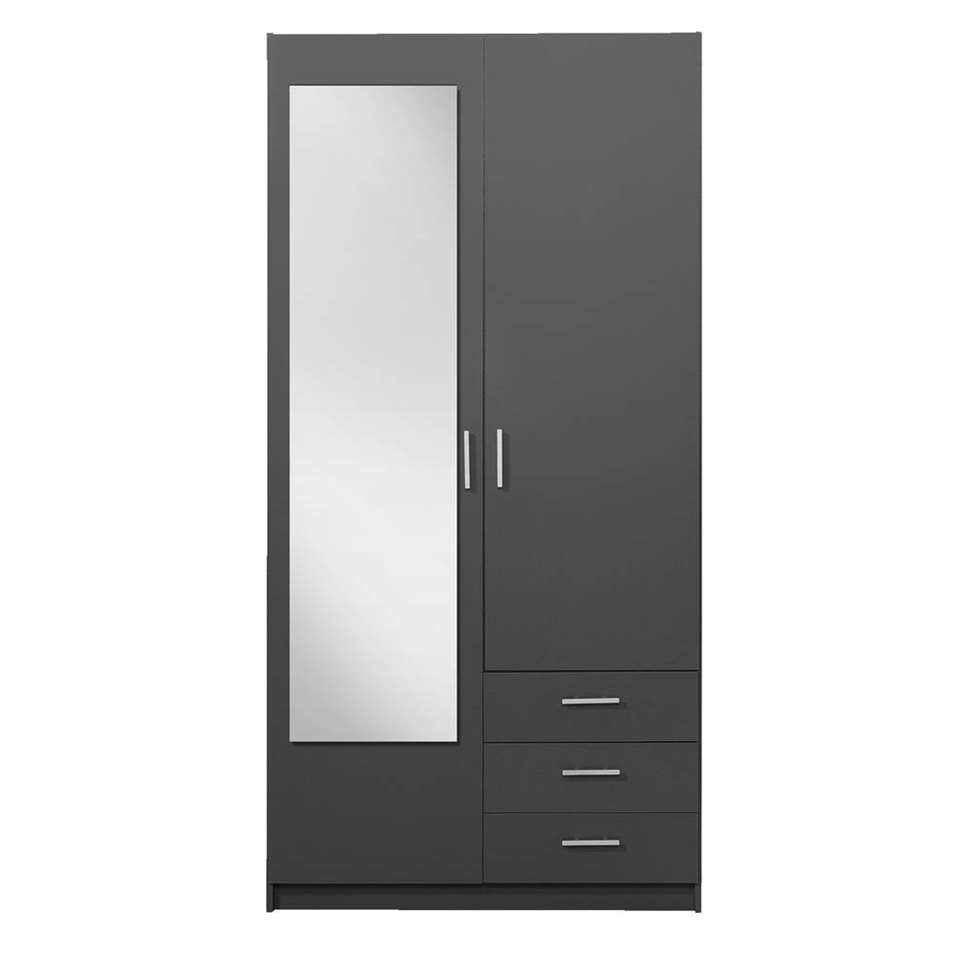 Kledingkast Sprint 2-deurs inclusief spiegel - donkergrijs - 200x100x51 cm - Leen Bakker