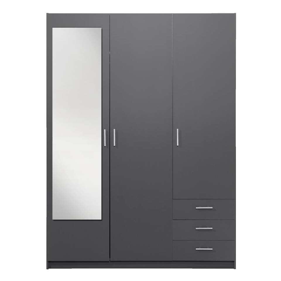 Kledingkast Sprint 3-deurs inclusief spiegel - donkergrijs - 200x148x51 cm - Leen Bakker