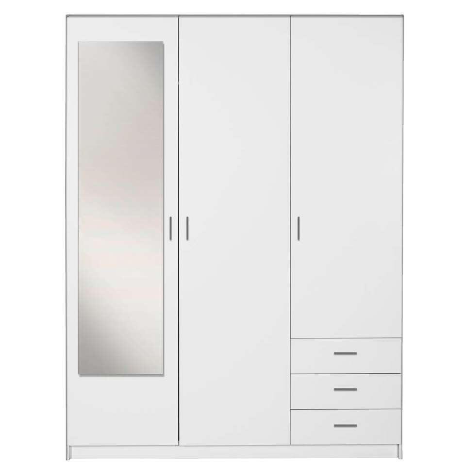 3 Deurs Spiegel Linnenkast.Kledingkast Sprint 3 Deurs Inclusief Spiegel Wit 200x148x51 Cm