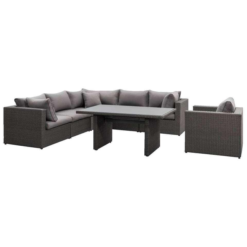 Le Sud lounge diningset met fauteuil Ancona - antraciet - 7-delig - Leen Bakker