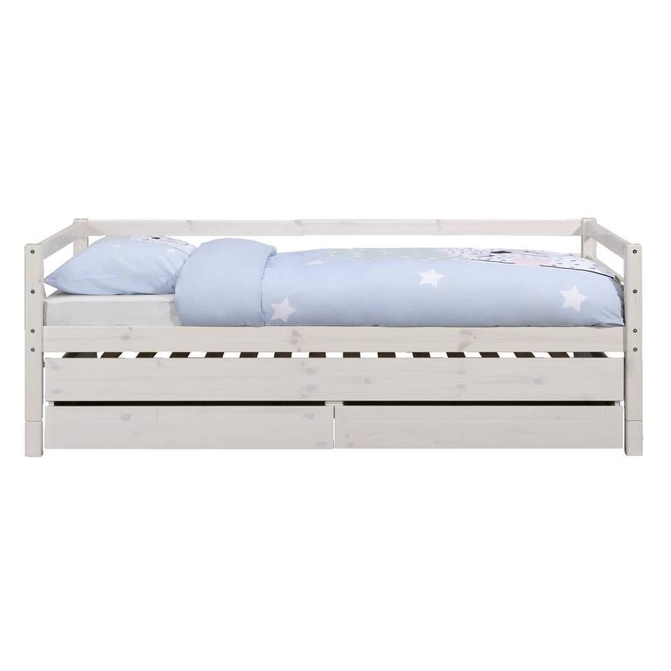 Bed Ties met bedverhoger - whitewash - 90x200 cm