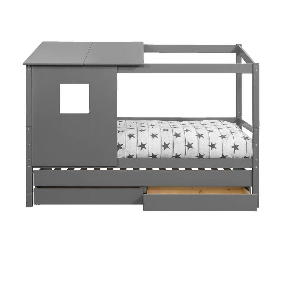 Bed Ties met bedverhoger en opzetdak - antraciet - 90x200 cm