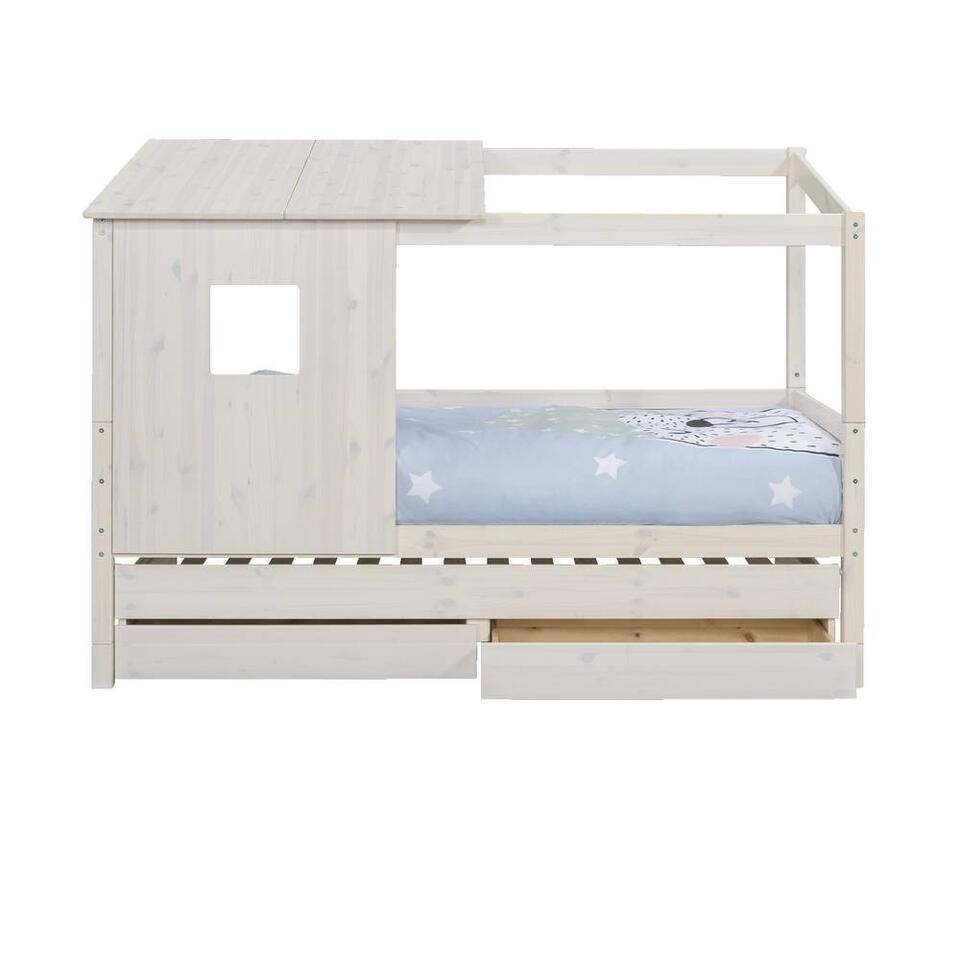 Bed Ties met bedverhoger en opzetdak - whitewash - 90x200 cm