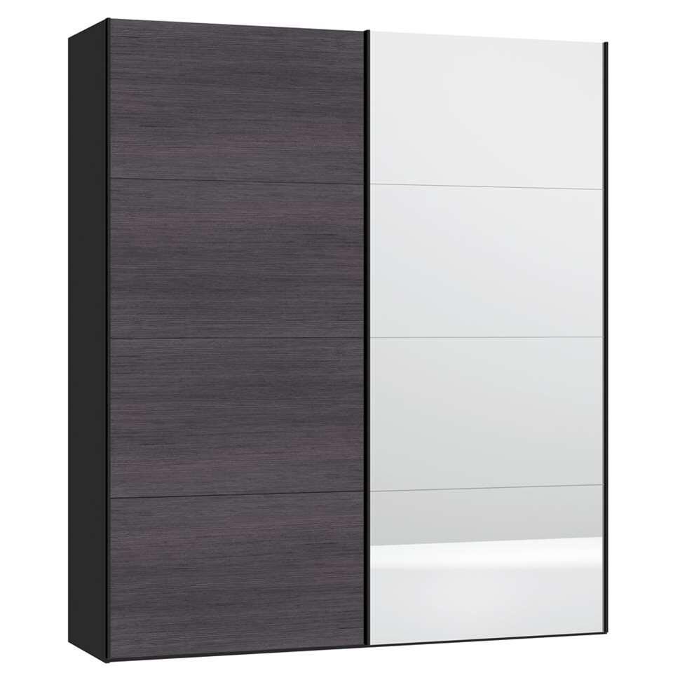 Schuifdeurkast STOCK - grijs gestreept/spiegeldeur - 236x203x65 cm