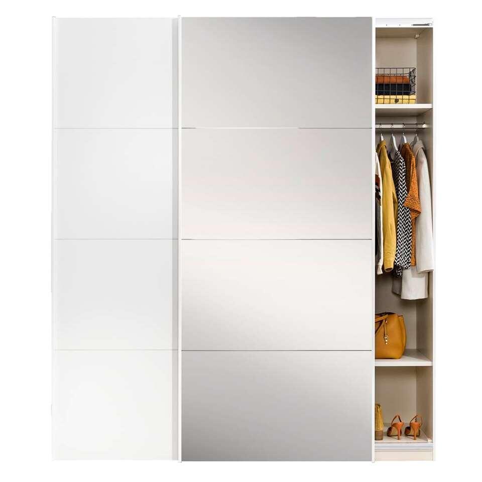 Stock schuifdeurkast - wit/spiegel - 236x202,5x65 cm - Leen Bakker