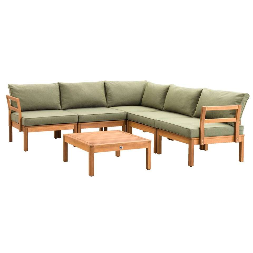 Le Sud loungeset Orleàns V1 - groen - 6-delig - Leen Bakker