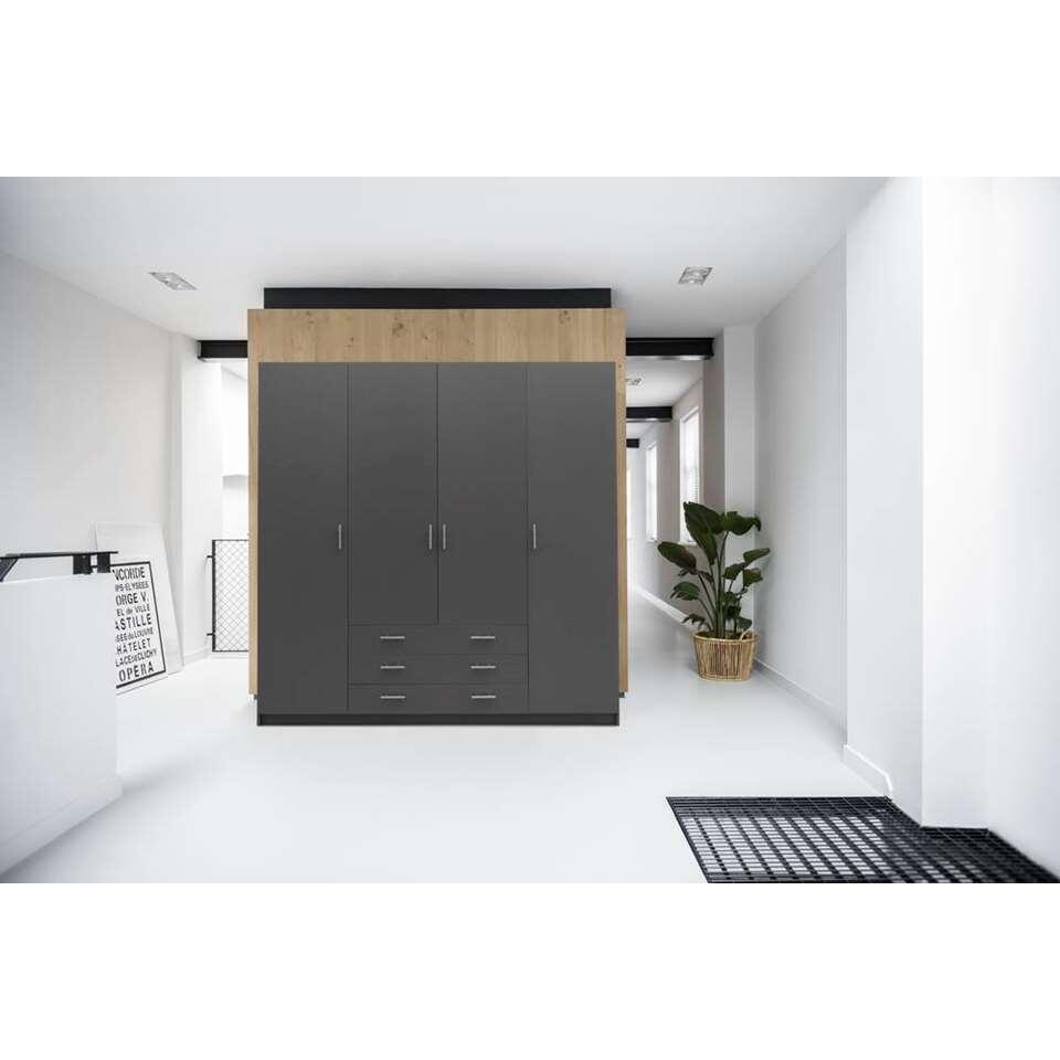 Kledingkast sprint 4 deurs donkergrijs 200x196x50 cm for Kledingkasten outlet