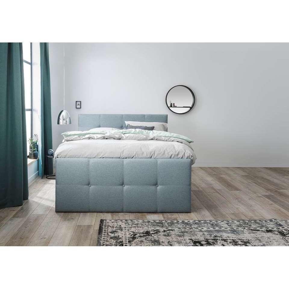 boxspring vasteras grijs groen 140x200 cm. Black Bedroom Furniture Sets. Home Design Ideas